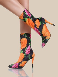 Floral Print Stretch Heels ORANGE