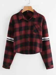 Varsity Striped Patch Pocket Check Shirt