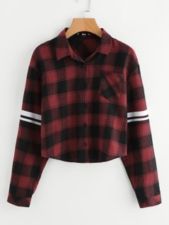 Single Pocket Striped Sleeve Curved Hem Checkered Shirt
