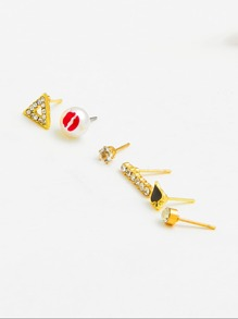 Rhinestone Stud Earrings 6pcs