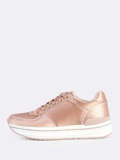 Satin Lace Up High Sole Sneakers MAUVE
