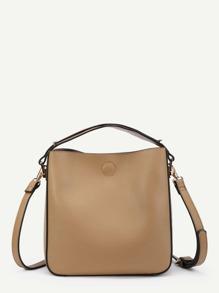 Piping Detail PU Crossbody Bag