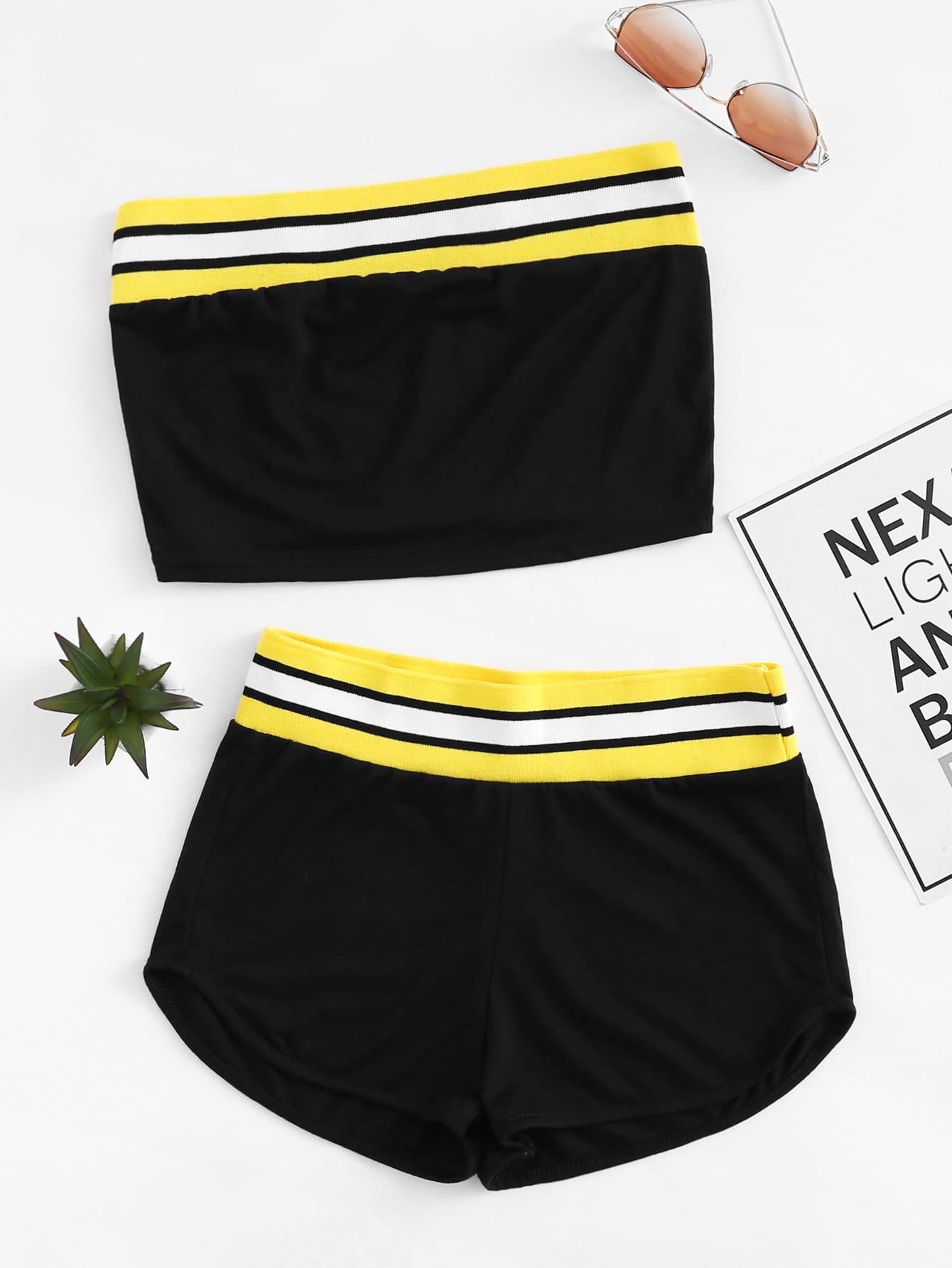 Купить Контрастный модный комплект, null, SheIn