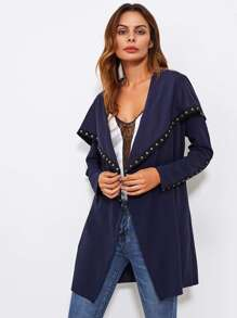 Exaggerate Collar Press-stud Detail Coat