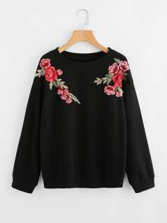 Embroidered Rose Patch Sweatshirt