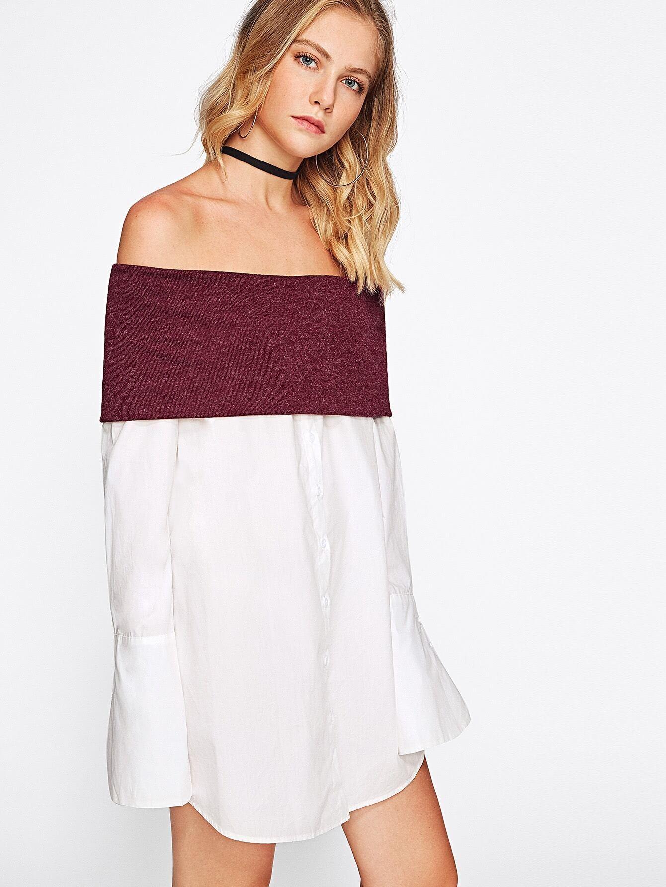 Contrast Foldover Off Shoulder Wide Cuff Shirt Shein