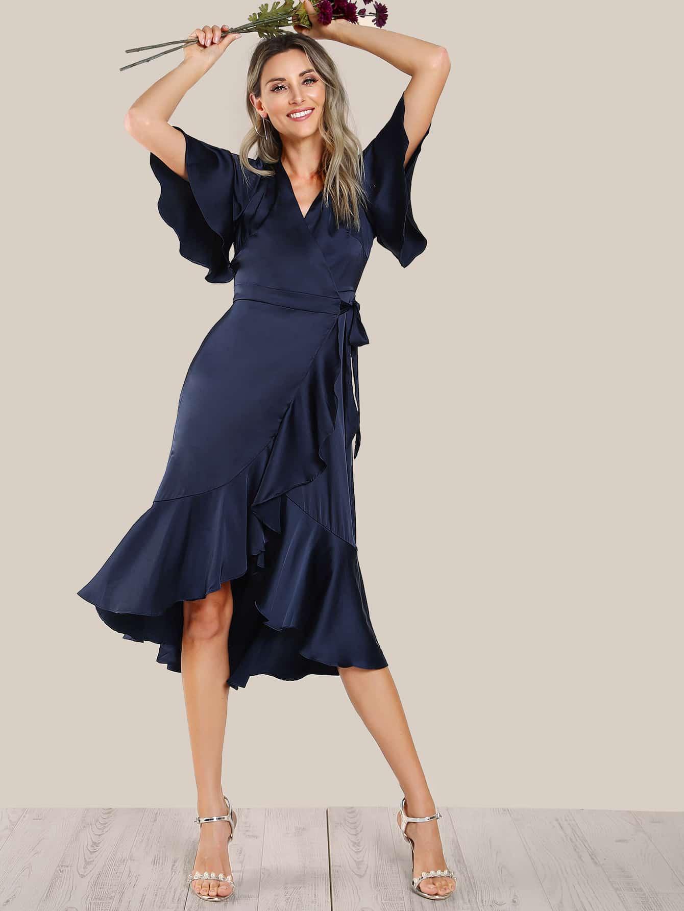 Ruffle Hem Satin Wrap Tie Dress wrap front tied v back ruffle hem dress