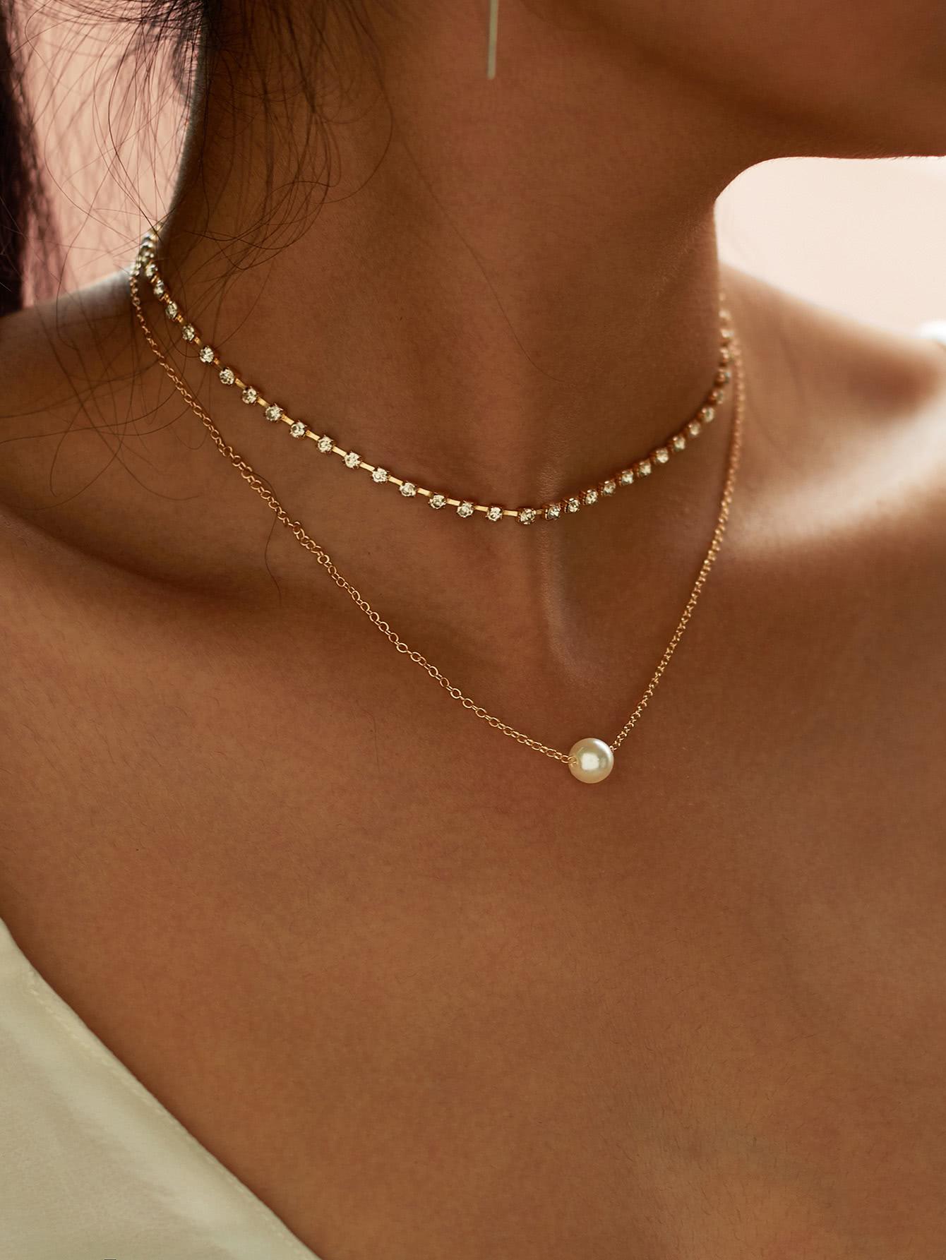 Faux Pearl Pendant Rhinestone Choker Necklace 2pcs