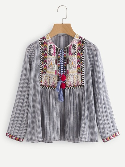 Aztec Embroidered Detail Tassel Tie Striped Kimono