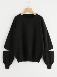Drop Shoulder Cutout Sleeve Loose Fit Jumper