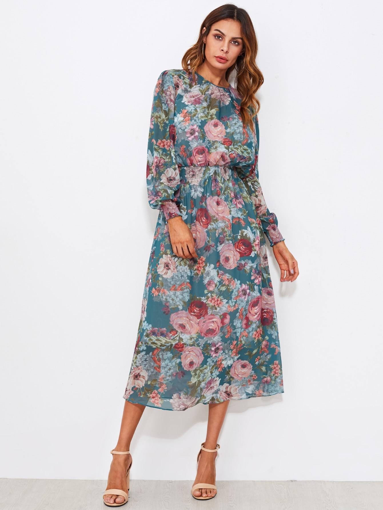 Shirred Waist Dress With Liner Slip Dress