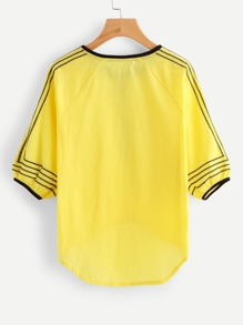Tasseled Tie Pleated Dip Hem Embroidered Top pictures