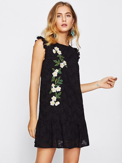 Eyelet Embroidered Cutout Tie Back Frilled Hem Dress pictures