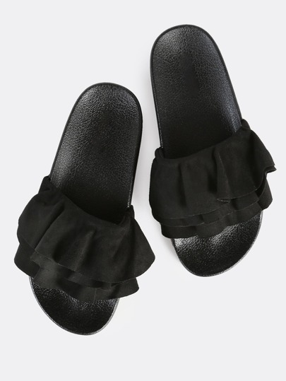Ruffle Front Slides BLACK