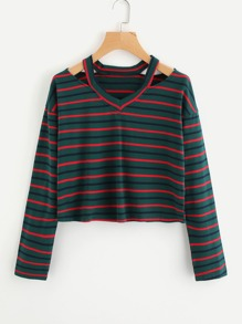 Cut Out V Neckline Striped T-shirt