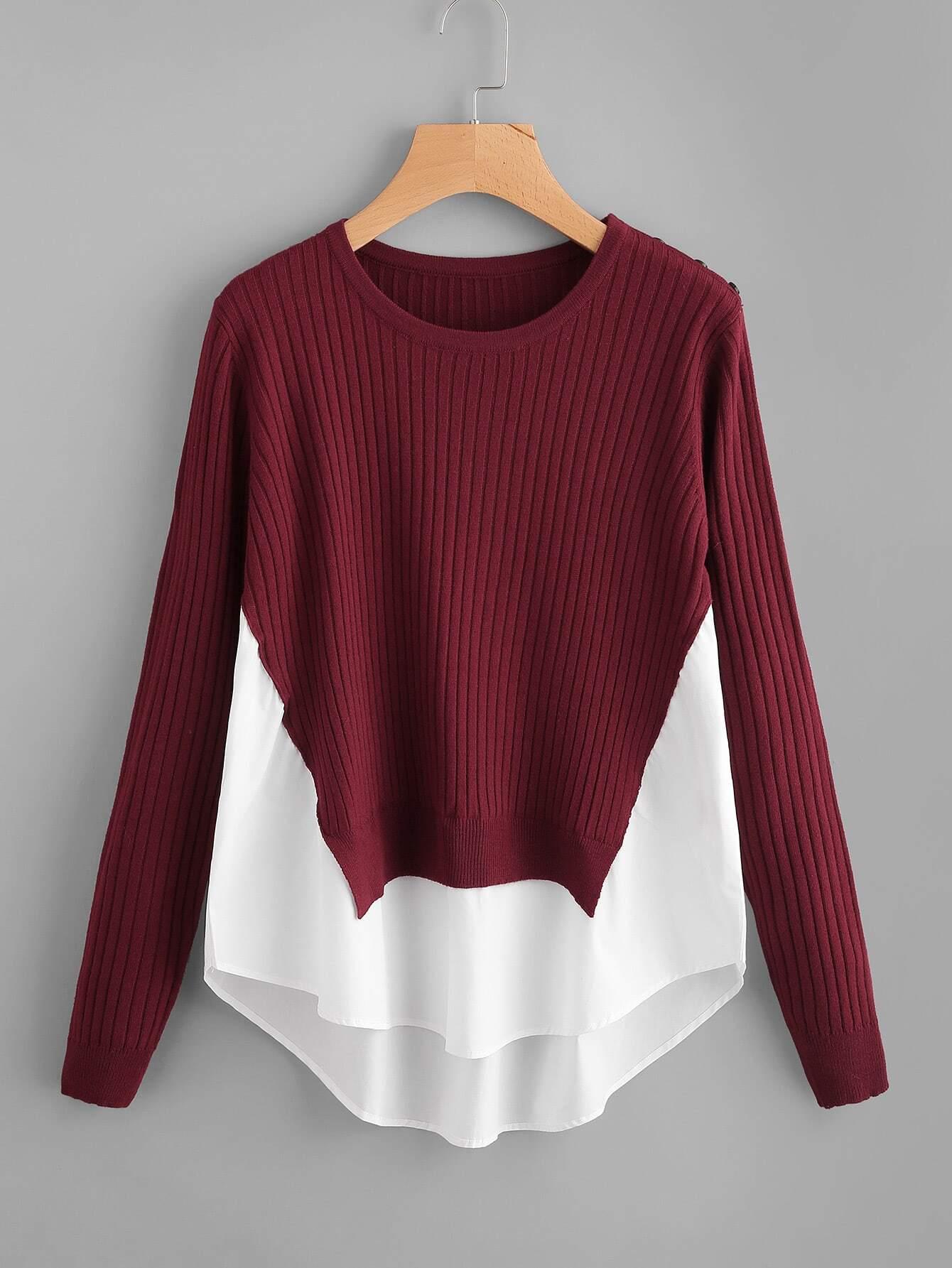 Contrast Curved Hem Ribbed Jumper sweater170818452