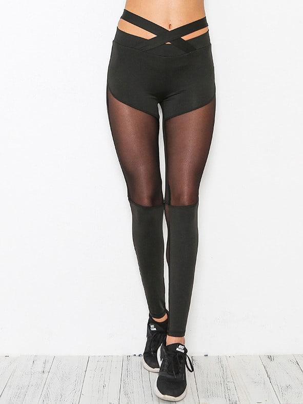 Active Mesh Paneled Criss Cross Detail Leggings leggings170821301