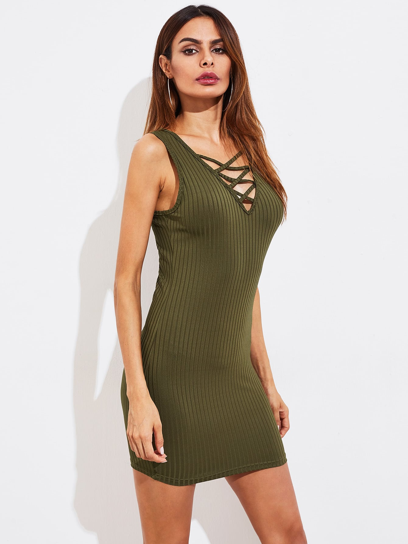 Crisscross Neck Rib Knit Dress dress170823454