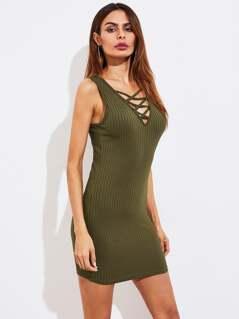 Crisscross Neck Rib Knit Dress