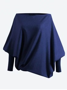 Suéter de manga gigot de cuello barco