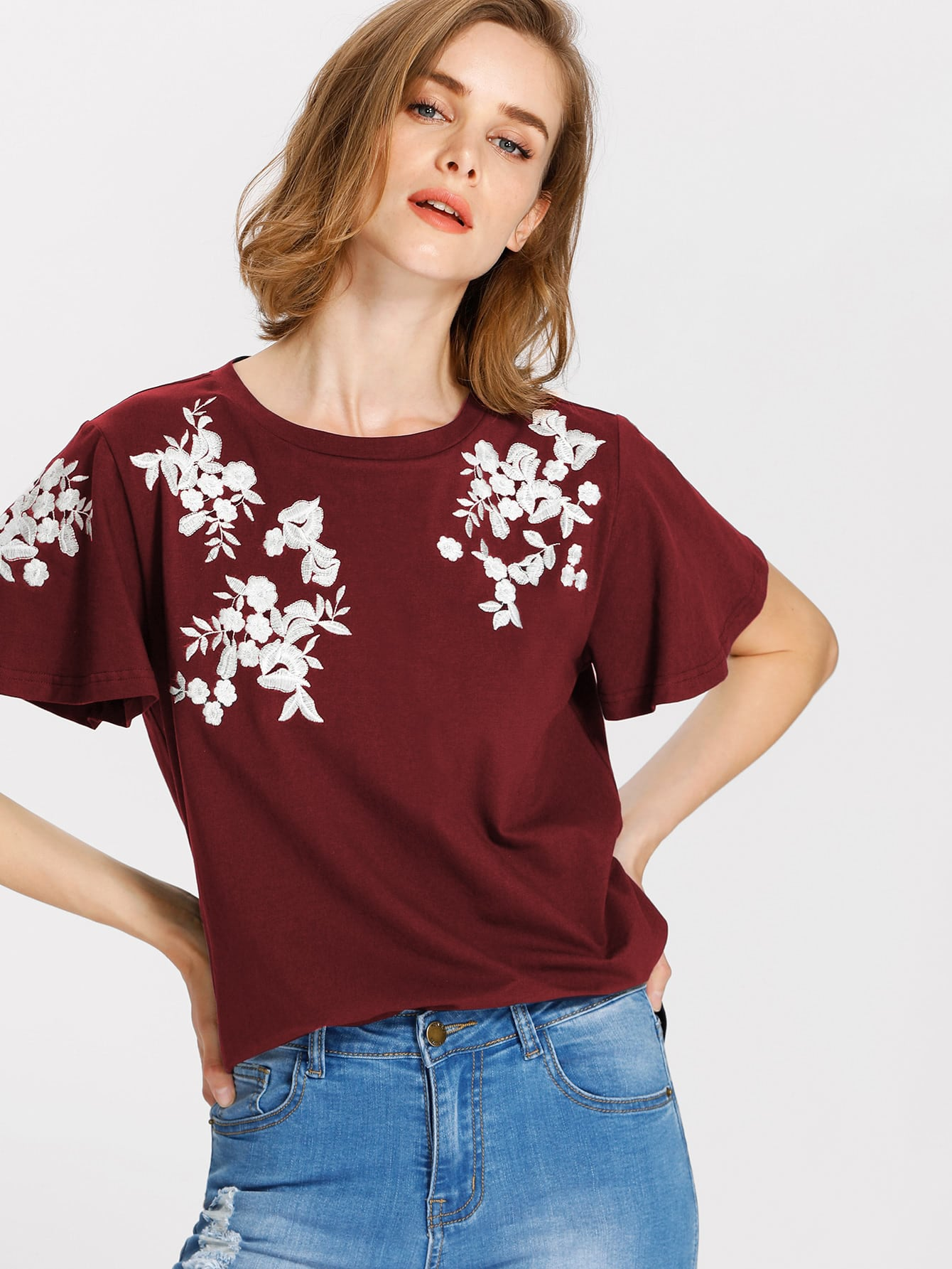 Flower Embroidered Flutter Sleeve Tee embroidered flutter sleeve self belt romper