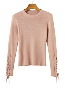Eyelet Lace Up Sleeve Tight Knitwear