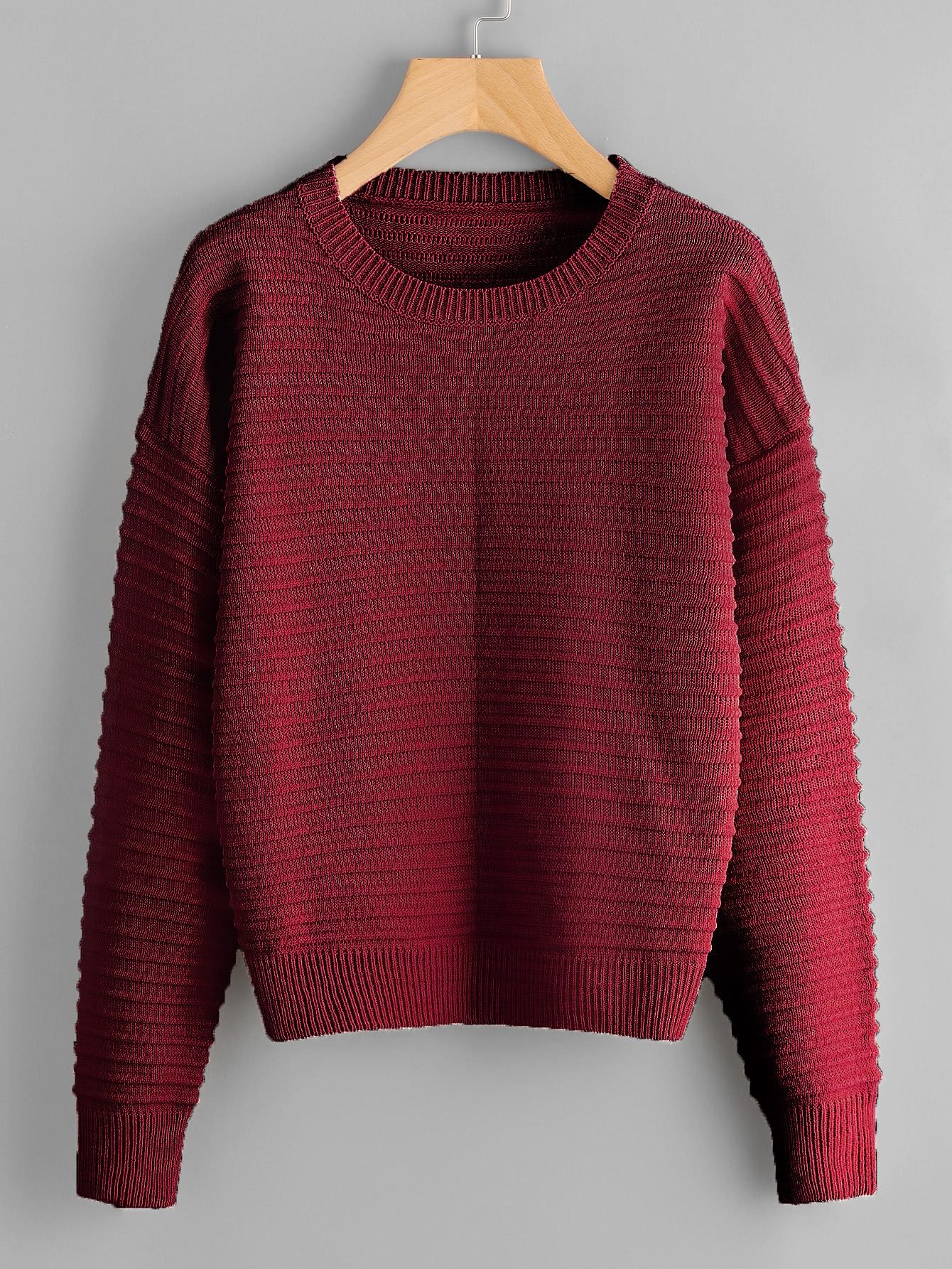 Drop Shoulder Rib Knit Sweater sweater170818451