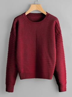 Drop Shoulder Rib Knit Sweater