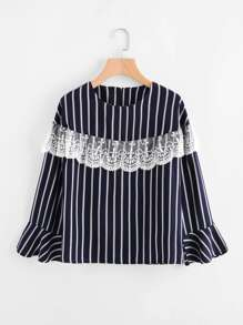 Embroidery Lace Layered Vertical Striped Top