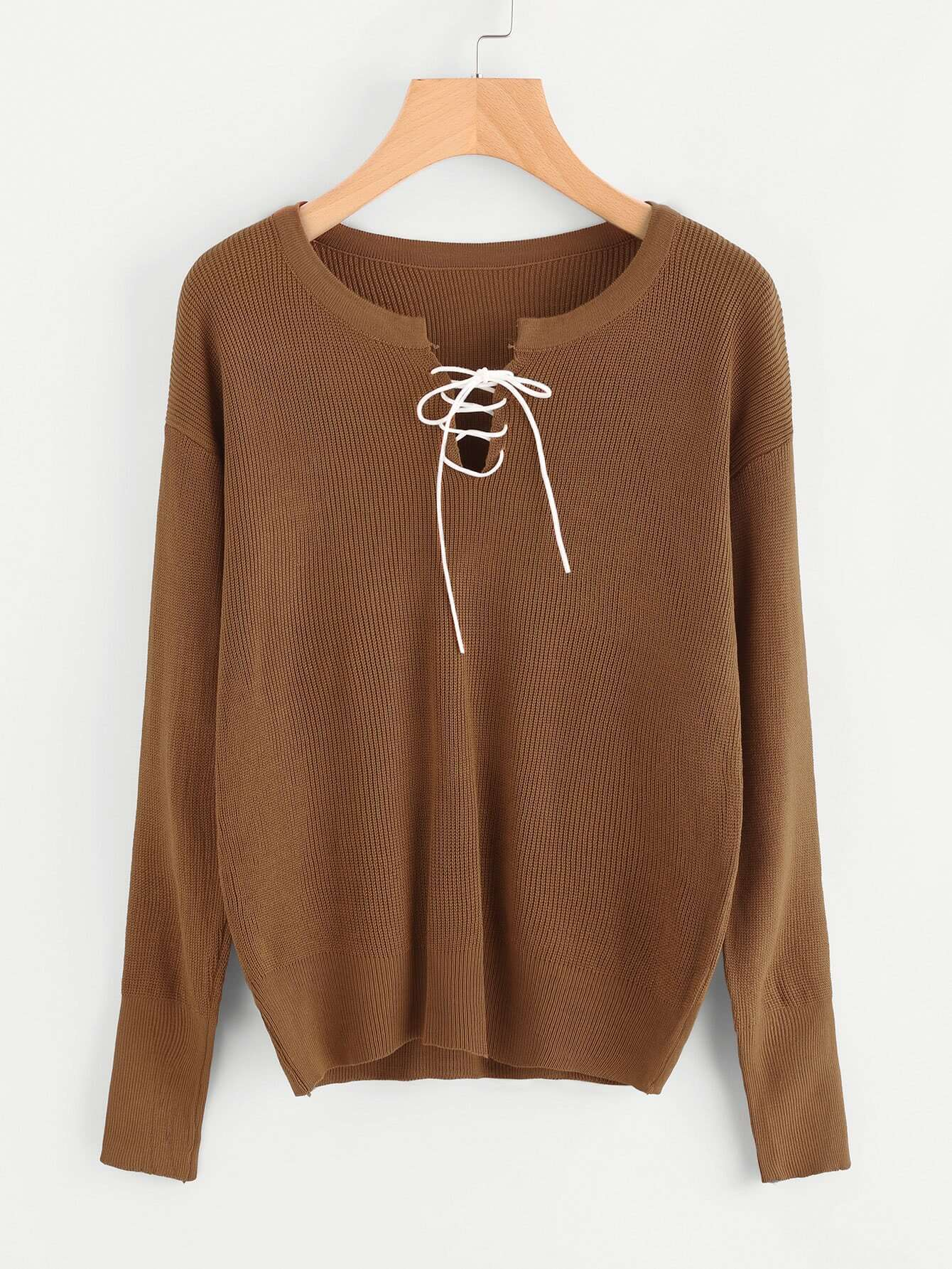 V Cut Lace Up Sweater