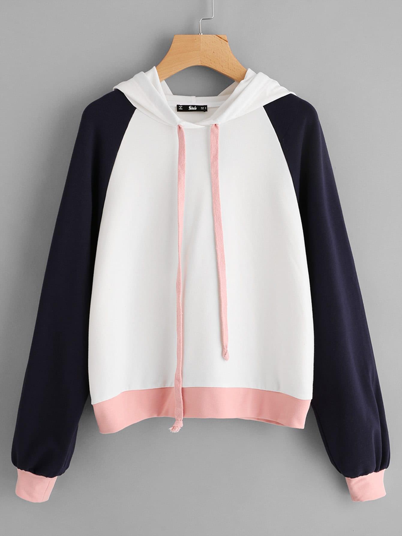 Color Block Raglan Sleeve Hoodie colorful zipper design raglan sleeve hoodie