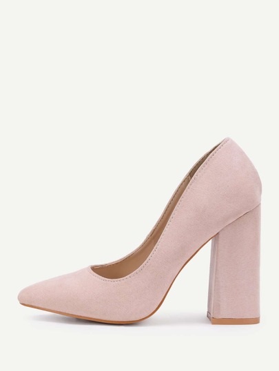 Pointed Toe Block Heeled Pumps