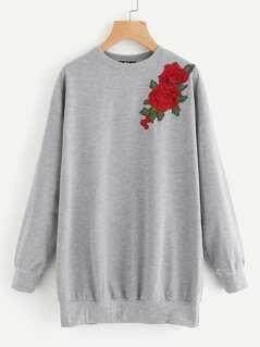 3D Rose Applique Heathered Longline Sweatshirt