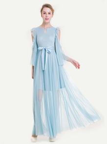 Open Shoulder Frill Trim Dotted Mesh Dress