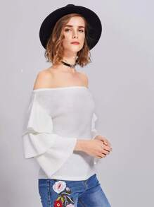 Layered Ruffle Sleeve Bardot Jumper