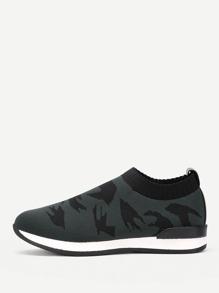 Bird Pattern Knit Track Sneakers
