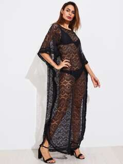 Fringe Trim Lace Poncho Dress