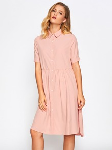 Slit Side Dip Hem Babydoll Shirt Dress