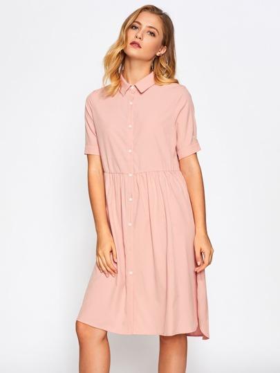 Slit Side Dip Hem Babydoll Shirt Dress
