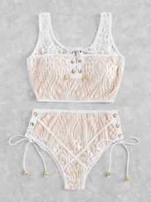 Lace Up Tie Crochet Lingerie Set
