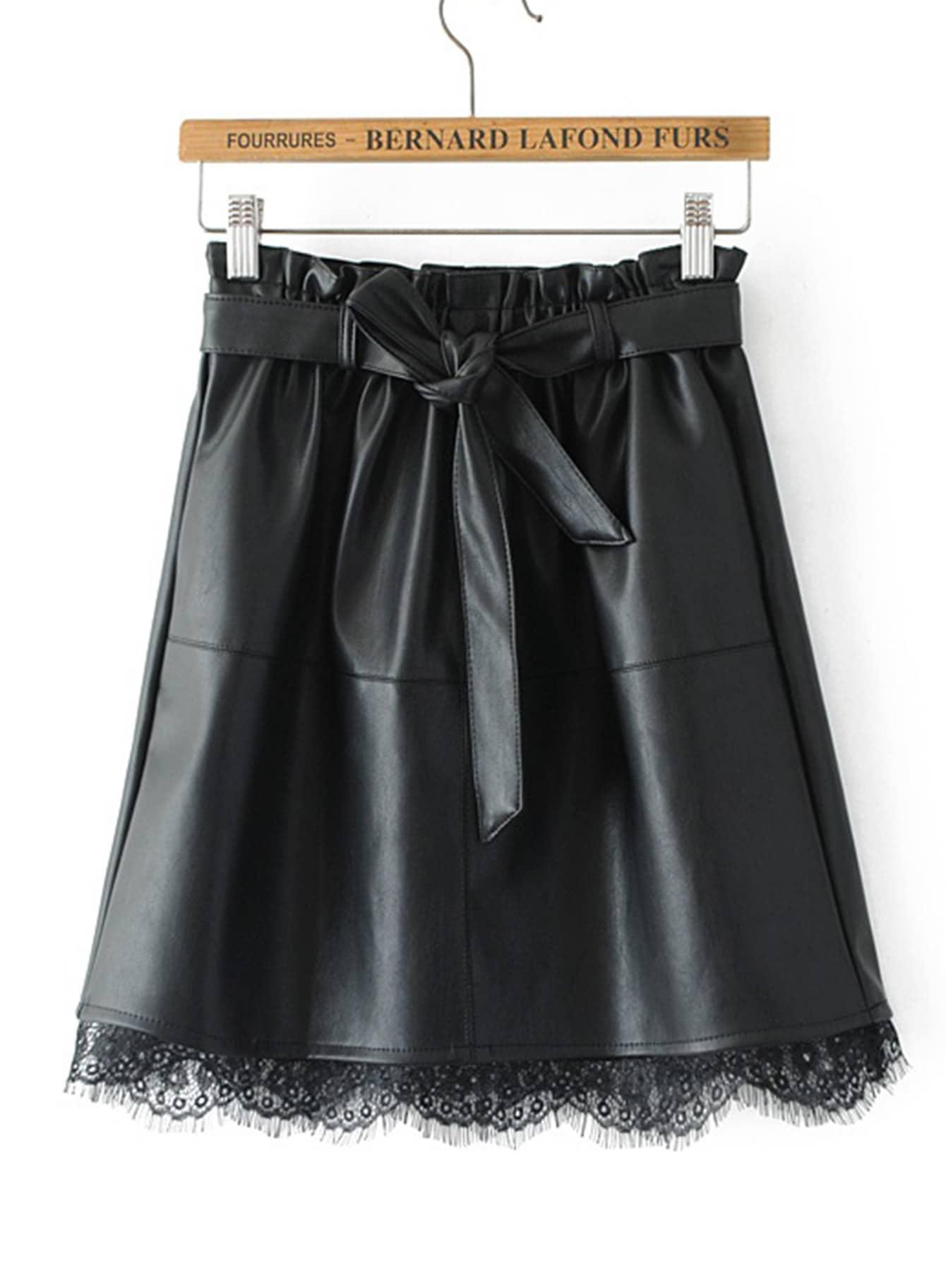 Eyelash Lace Hem PU Skirt With Belt
