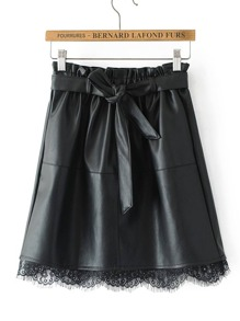 Eyelash Lace Hem PU Skirt With Belt