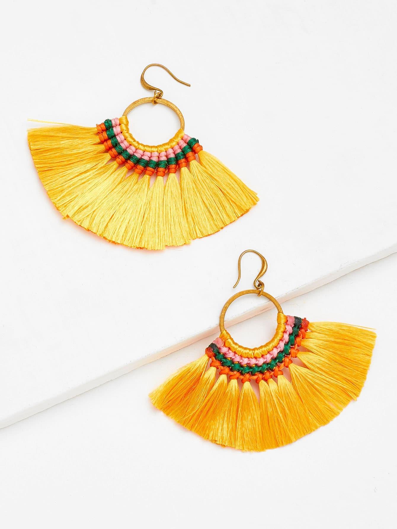 Tassel Hoop Statement Earrings