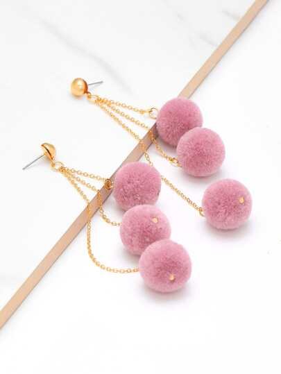 Pom Pom Chain Drop Earrings