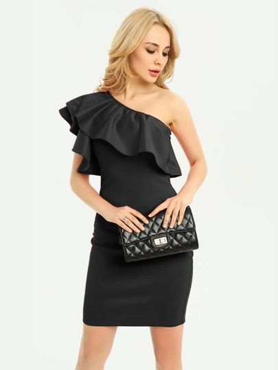Oblique Shoulder Frill Trim Bodycon Dress