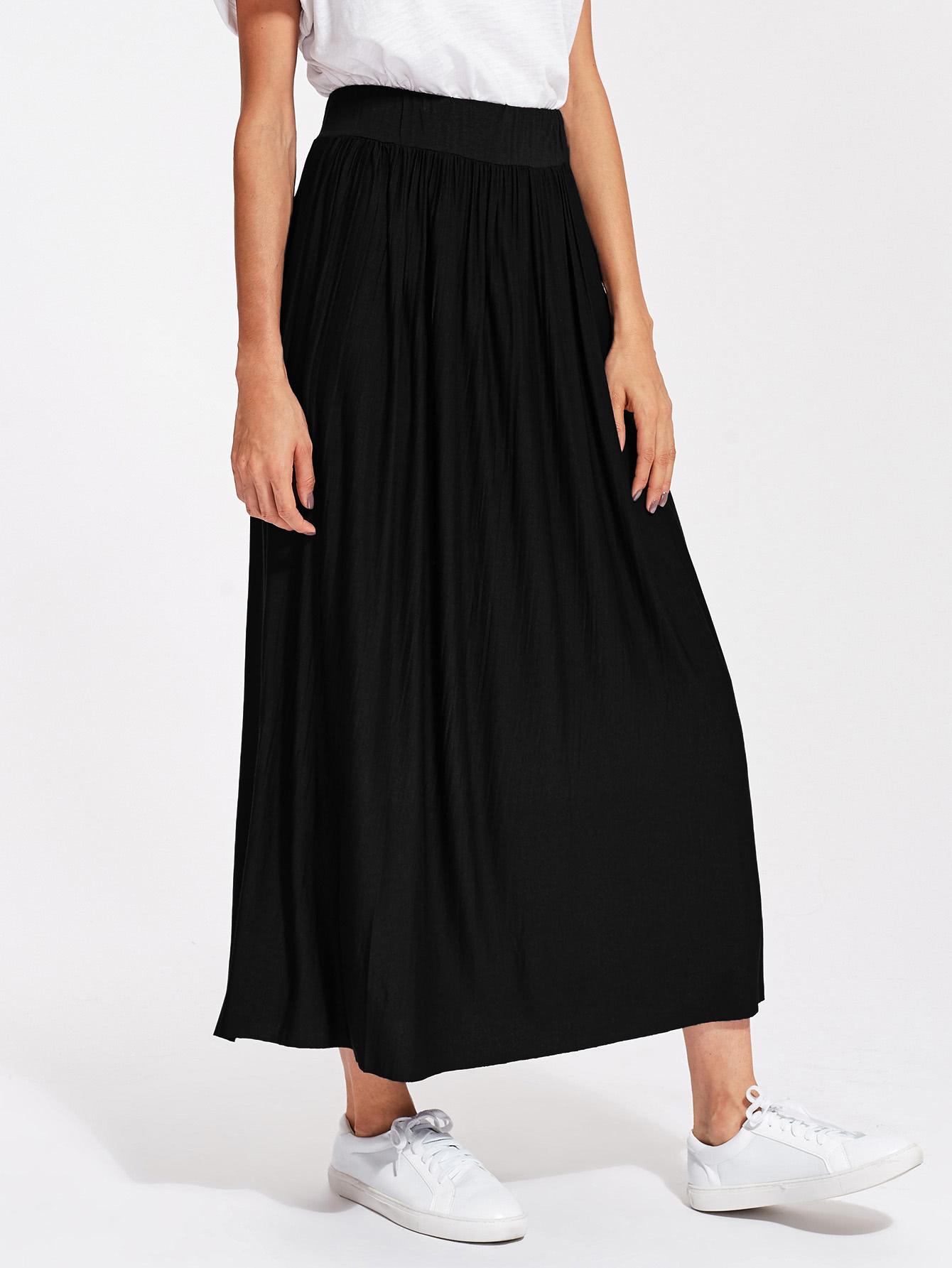 Crinkle Elastic Waist Full Length Skirt