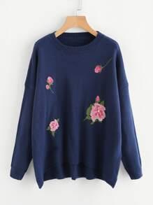 Flower Embroidered Dip Hem Jumper