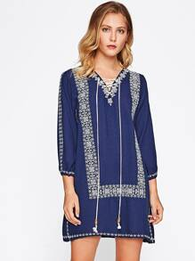 Self Tie Front Tribal Embroidered Dress