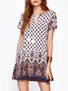 V Notch Tassel Tie Neck Ornate Print Dress