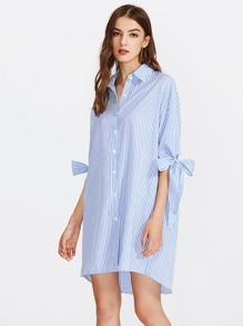 Vertical Striped Bow Tie Cuff Dip Hem Shirt Dress
